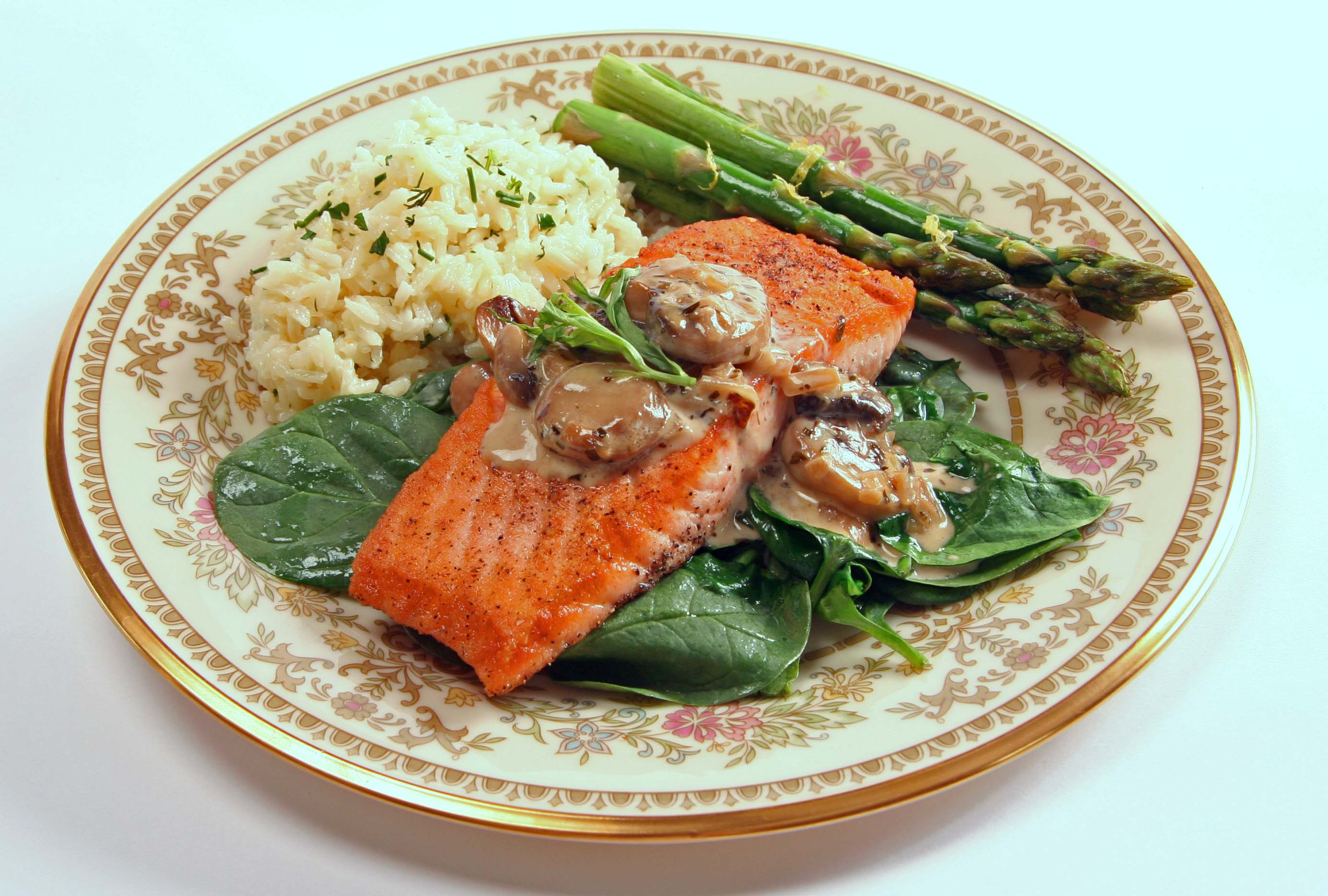 seared salmon on spinach pan seared salmon on thai pan seared salmon ...