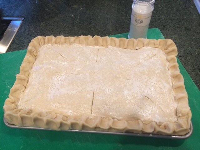 Slab pie before baking